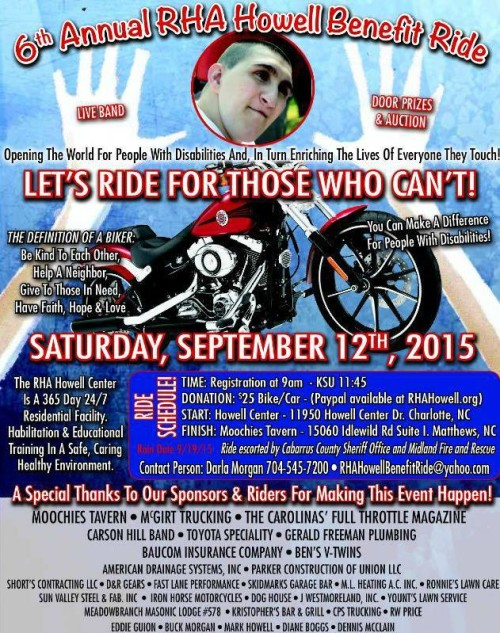 6th Annual RHA Howell Benefit Ride September 12, 2015 #clt
