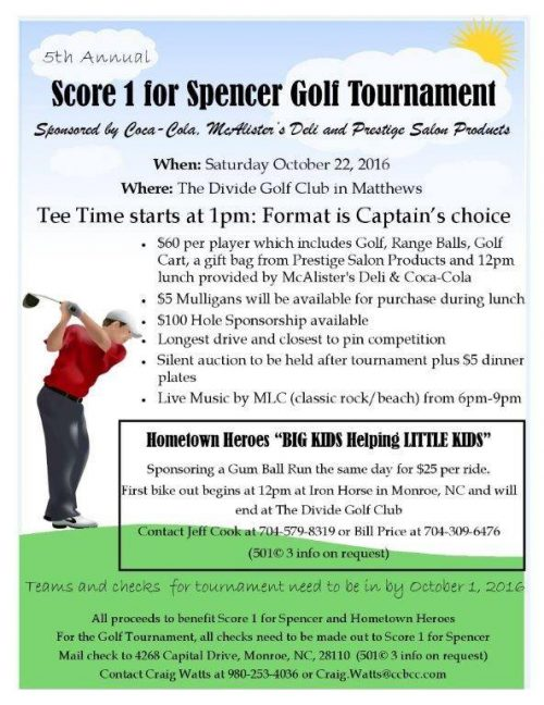 Charity Golf Tournament Charlotte – Score 1 for Spencer Golf Tournament