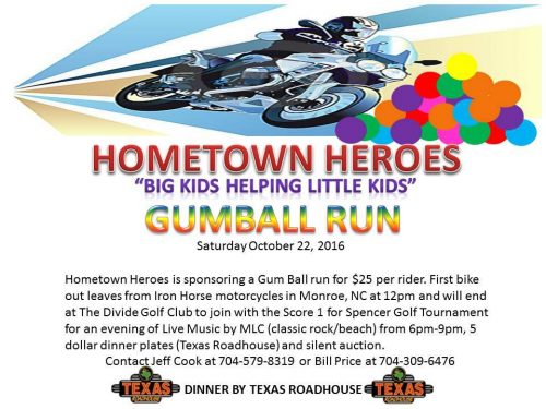 Gumball Run October 22 Benefiting HomeTown Heroes