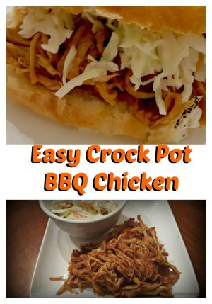 Easy BBQ Chicken in the Crockpot. With five minutes of preparation time, this easy Crock pot Barbeque Chicken dinner is a reality. Throw a huge amount of chicken in the crock pot, some BBQ sauce, and you're on your way to making multiple meals with this recipe.