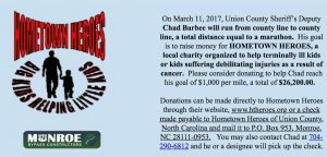 Union County Deputy Chad Barbee to Run a Marathon For HomeTown Heroes