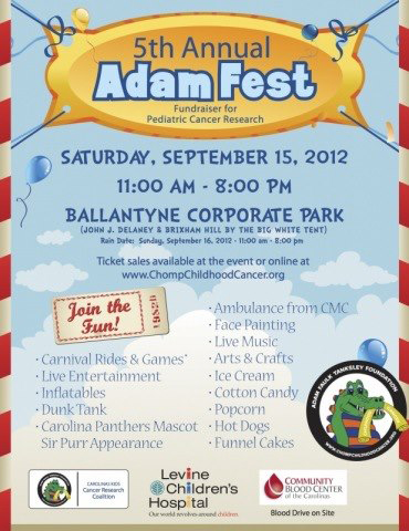 AdamFest Saturday, September 15th at Ballantyne Corporate Park