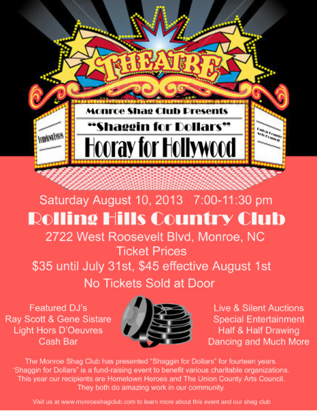 Shaggin' For Dollars Monroe Shag Club August 10 – Hooray for Hollywood!
