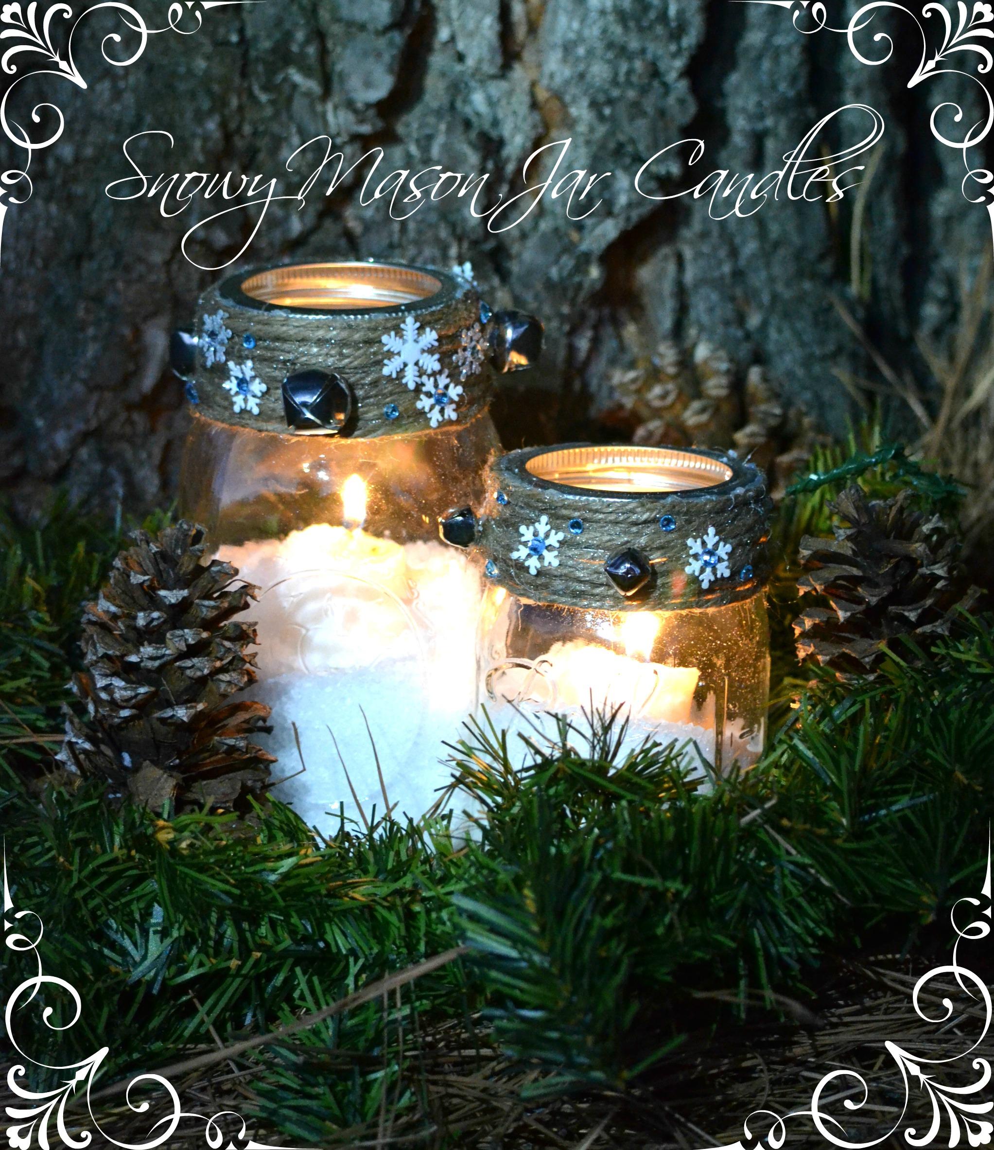 Easy Craft Snowy Mason Jar Winter Candle Craft