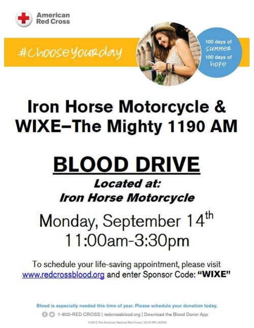 Blood Drive September 14th at Iron Horse Motorcycle