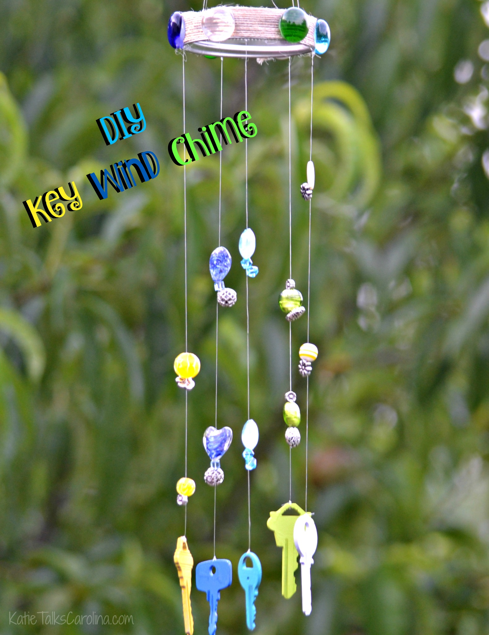 Diy key wind chime katie talks carolina for Homemade chimes