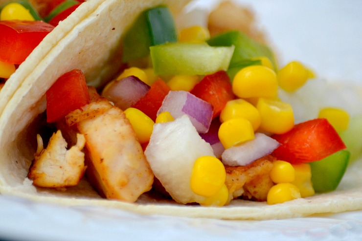 Fiery Chicken Tacos and Corn Salsa